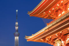 Tokyo Skytree and Asakusa temple Royalty Free Stock Photography
