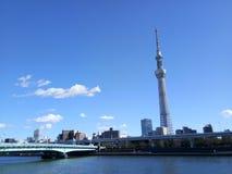 Tokyo Skytree e fiume Immagine Stock Libera da Diritti