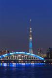 Tokyo Skytree and the Eitai bridge in Tokyo at dusk Royalty Free Stock Photo