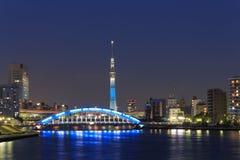 Tokyo Skytree and the Eitai bridge in Tokyo at dusk Stock Photo