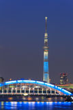 Tokyo Skytree and the Eitai bridge in Tokyo at dusk Royalty Free Stock Photos