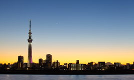 Tokyo skytree with Mt Fuji Stock Photos