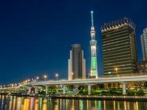 Tokyo Skytree nella vista della luce notturna Fotografia Stock Libera da Diritti