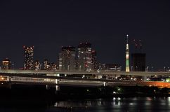 Tokyo Skytree seen from Odaiba. Royalty Free Stock Photography