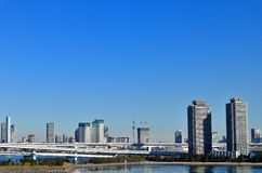 Tokyo Skytree seen from Odaiba. Royalty Free Stock Images