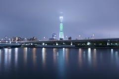 Tokyo Skytree at the Sumida River Stock Photos