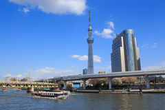 Tokyo Skytree and Sumida river in Tokyo. Tokyo Skytree is a broadcasting, restaurant, and observation tower in Sumida city, Tokyo, Japan Stock Photos