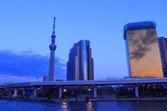 Tokyo Skytree and Sumida river in Tokyo at dusk Stock Images