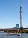 Tokyo skytree. The tallest tower in Tokyo with the side seeing boat Royalty Free Stock Photo