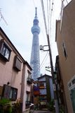 Tokyo Skytree Tower between houses - television broadcasting tower and landmark stock photo