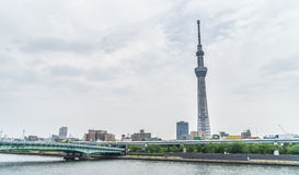Tokyo Skytree view from Asakusa side of Sumida river. Tokyo, Japan - May 1, 2017: Tokyo Skytree view from Asakusa side of Sumida river Royalty Free Stock Photos