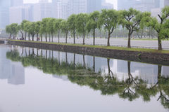 Tokyo smog. Tokyo, Japan - Imperial Palace gardens and the urban pollution smog Stock Image