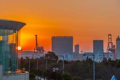 Tokyo am Sonnenuntergang stockbild