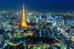 Tokyo stad på natten arkivbilder