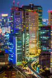 Tokyo stad på nattlodlinjen Royaltyfri Fotografi
