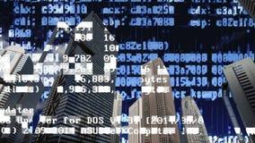Tokyo stadshorisont med kod och data arkivfoto