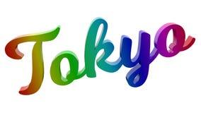 Tokyo-Stadt-Name kalligraphisches 3D machte Text-Illustration gefärbt mit RGB-Regenbogen-Steigung Stockfotos