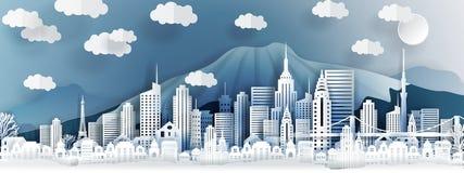 Tokyo-Stadtkonzept, Japan Papierkunststadt auf Rückseite mit Gebäuden, Türme, Brücke, Wolken stock abbildung