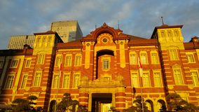 Tokyo Station building in sunset royalty free stock photo