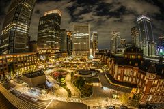 Tokyo Station and the business district which is visible from KITTE. Shooting location :  Tokyo metropolitan area stock photos