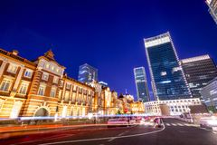 Tokyo Station Front at Night Royalty Free Stock Photography