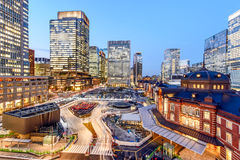 Tokyo station at marunouchi business. Tokyo Station at the Marunouchi business district, Tokyo Japan during blue hour Stock Photos