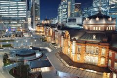 Tokyo Station Night View - Tokyo famous place, modern building scenes with neoclassical architecture. Shot in KITTE shopping mall, Tokyo, Japan Stock Photo