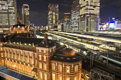 Tokyo Station and train station night view. Royalty Free Stock Images