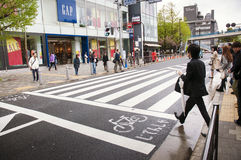 Tokyo street crossing royalty free stock photos