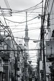 Tokyo street with electrical wires and Sky Tree. Tokyo, Japan - March 31,2012: Black and white picture of Tokyo city street with electrical wires and Sky Tree Royalty Free Stock Photos