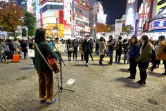 Tokyo :Street performer. A street performer at Shibuya center gai ,Tokyo Japan royalty free stock images