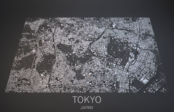 Tokyo streets and buildings 3d map, Japan Royalty Free Stock Photos