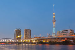 Tokyo Sumida river and Tokyo skytree. Tokyo city view , Tokyo Sumida river and Tokyo skytree at twilight Royalty Free Stock Images