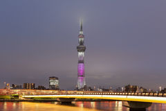 Tokyo sumida river view , and Tokyo Skytree. In evening Stock Photo