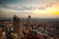 Tokyo Sunset. Bird's eye view of the southern part of Tokyo, from observatories on the 45th floor of Tokyo Metropolitan Government Building before sunset, Japan Stock Photos