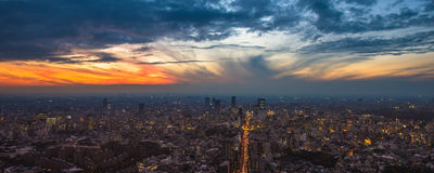 Tokyo sunset aerial panoramic view Royalty Free Stock Images
