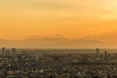 Tokyo sunset with Mount Fuji. The iconic Mount Fuji rises above Tokyo southern suburbs wrappes in a yellowish evening mist stock photography