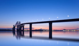 Tokyo sunset at Tokyo gate bridge and Mountain Fuji Stock Image