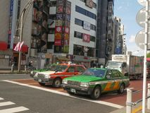 Tokyo taxi, Tokyo stadstaxi, Times Square, Japan, arkivbild