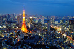 Tokyo tower. At night sence royalty free stock image