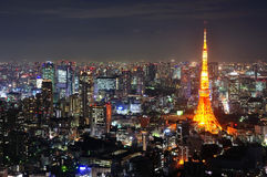 Tokyo tower. At night sence royalty free stock images