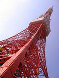 Tokyo Tower. Build in 1958 is much alike Eiffel Tower, but, due to advancement in tehnology is 13m higher (333m - Tokyo Tower, 320 - Eiffel Tower) and has a Stock Photography