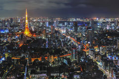 Tokyo tower. At night time stock image