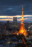 Tokyo Tower aerial, Tokyo, Japan. Twilight view of Tokyo Tower from a high perspective point (World Trade Center Building in Hamamatsucho, Tokyo, Japan). The