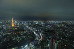 Tokyo tower as seen with skyline from Metropolitan Royalty Free Stock Photo