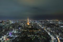Tokyo tower as seen with skyline from Metropolitan Royalty Free Stock Photography