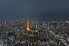 Tokyo tower as seen with skyline from Metropolitan Stock Images