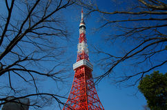 Tokyo Tower. Blue and red are contrast view here in Tokyo Stock Image