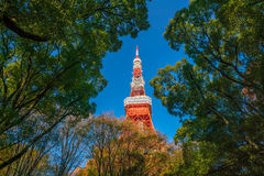 Tokyo Tower blue sky in Japan Stock Photo
