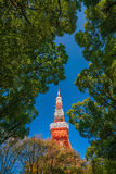 Tokyo Tower with blue sky in Japan Stock Photography